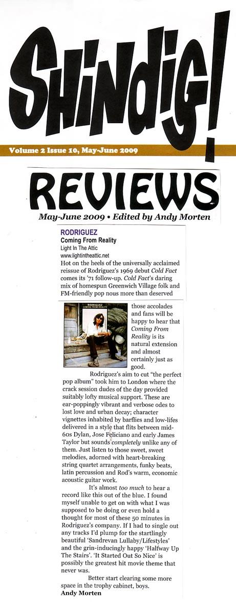 Rodriguez - Shindig - Album Review - May 09