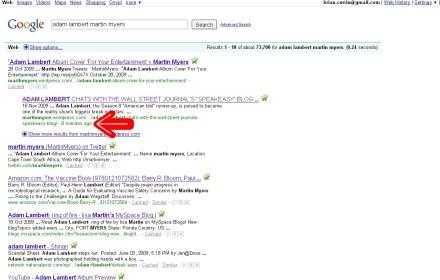 Google Search For Adam Lambert Martin Myers