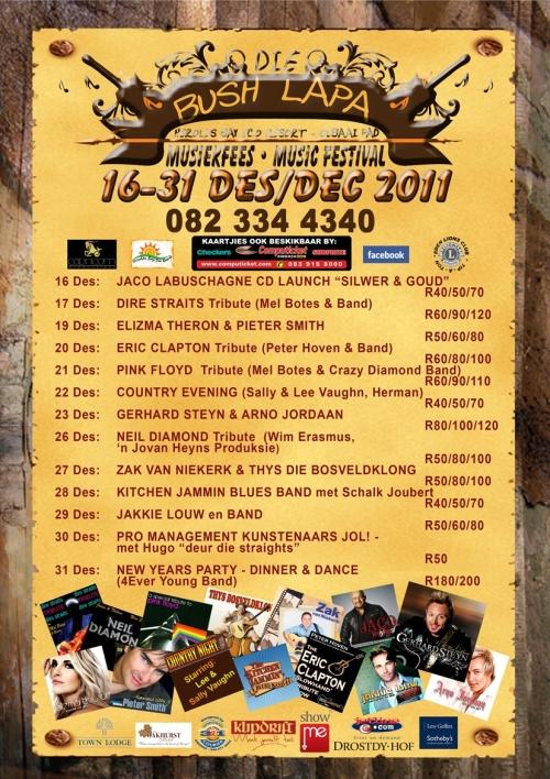4de Bush Lapa Musiekfees / Music Festival (16-31 Des / Dec 2011) @ Heroldsbaai