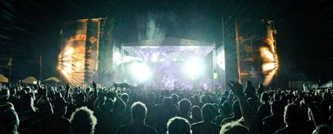 In Flames on the Red Heart Rum main stage in Cape Town. Photo: Michael Ellis.